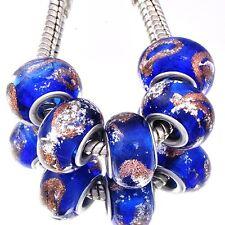 5Pcs Gold Silver Filled Crystal Glass Violet Beads Fit European DIY Bracelet