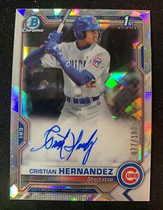 2021 Bowman Chrome Cristian Hernandez 1st Bowman autograph Refractor /100 🔥📈