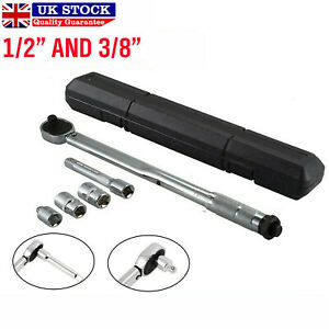 """Ratcheting Torque Wrench Extension Adjust 28-210Nm 1/2"""" 3/8"""" Square Socket Drive"""