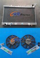Aluminum Radiator+FANS for Nissan N14 GTIR SR20DET Pulsar N15 AT/MT