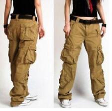 womens  Dance Pocket Long Loose Cotton Casual Combat Pants Workwear Trousers Sz