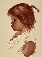 ANTONIO RUIZ VINTAGE CHILD PORTRAIT FIGURE STUDY WATERCOLOR PAINTING