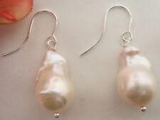 19x12mm White Keshi Baroque Pearl Earrings