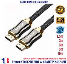 lot 2/ 1 2m Cable hdmi 2.0 4K 60Hz Full ultra HD 3D HDTV HDR 18GB 1,5 2 3 5 10 m