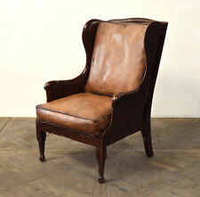 """29"""" W Club Arm Chair Vintage chocolate brown buffalo leather antiqued hand made"""
