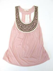 SUGARLIPS PINK GOLD BRASS STUDS WHITE SEQUIN SQUARES BLOUSE TANK TOP S NWT