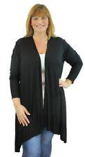 Plus Size Ladies Long Sleeve Jersey Drape Waterfall Stretch Cardigan Top 14-28