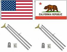 3x5 Usa American & State of California Flag & 2 Aluminum Pole Kit Sets 3'x5'