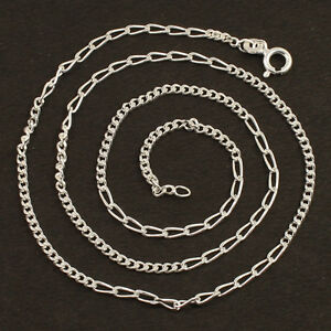 """2mm 925 Solid Sterling Silver Necklace Figaro Chain 18"""" inches Fashion Men Women"""