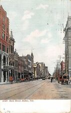1909 Stores Distant Trolley Main St. Dallas TX post card