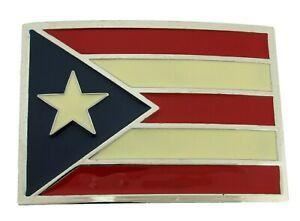 Puerto Rico Bandera puertorriquena Puertorriqueno Belt Buckle Square Metal Big