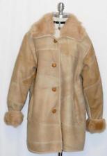 REAL ~ FOX FUR & LEATHER ~ BROWN Women German WINTER Dress Jacket Over COAT 16 L