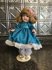 """Vintage 12"""" Bisque Doll with Blonde Hair in Teal Dress w Shoes w/stand Exc"""