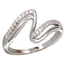 Neues AngebotSterling Silber Doppel Welle Cz Steine Damen Ring