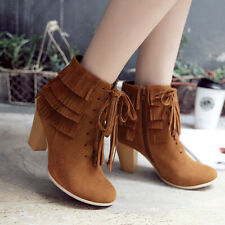 Womens Winter Combat Boots Tassel Lace-Up Zip Square Heel Round Toe Ankle Bootie