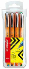STABILO Worker Rollerball - Assorted Colours, Pack of 4 - Medium Tip Pens