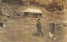 RPPC Hunter, Rifle, Log Cabin Port & Ashland Oregon RPO 1914? Vintage Postcard