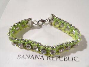 Banana Republic Women's Neon Green Braided Crystal Lobster Bracelet NWT 45