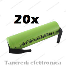 20X batteria litio li-ion icr lir 18650 3.7v 2600mAh terminali a saldare tabs