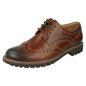 MONTACUTE WING MENS CLARKS FORMAL BROGUE BURNISHED LEATHER SMART LACE UP SHOES