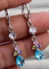 18K White Gold Filled - 1.5'' Blue Topaz Amethyst Ruby Waterdrop Flower Earrings