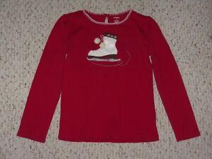 Red Gymboree L/S Top w/ White Patent Applique Ice Skate, Winter Cheer, 8, VGUC