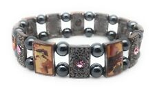 Magnetic Bracelet Hematite Bead Pink Crystal Abalone Shell Stretch Stone Healing