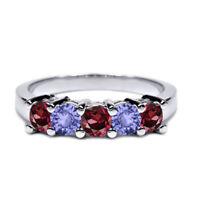 1.02 Ct Red Rhodolite Garnet Blue Tanzanite 925 Silver Wedding Band Ring