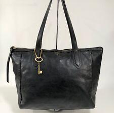 FOSSIL SYDNEY Black Leather Shopper Tote Shoulder Bag Handbag Carryall Purse