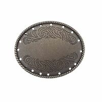 Oval floral engraved Buckle in Antique Silver