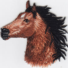 ANIMALS-HORSE HEAD, FACING LEFT-Iron On Embroidered Patch-WESTERN - ANIMAL -FARM