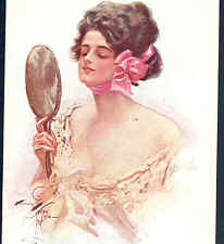 "RARE...!  RUSSIAN..HARRISON FISHER ""VANITY"" LADY,LACE DRESS,MIRROR, POSTCARD"