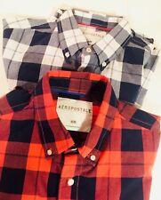 aeropostale Men Long Sleeve Shirt 100% Cotton Size M Lot 2