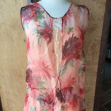 "Lovely 1920's Vintage GATSBY Dress FLOWER Silk Chiffon Coral Peach Wine 37"" Bust"