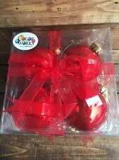 NIB Solid Red Color Works Christmas Bulb Ornaments Lot/4