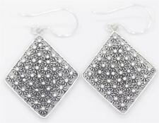 Princess Diamond Shaped Dangle Earring, Sterling Silver .925 Handmade Med. Bali