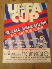 Sliema Wanderers v BARCELONA UEFA CUP 1ST Redondo 1980 Rare Orig Hajduk Cartel