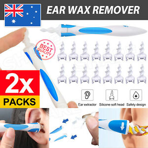 AU 2x Ear Wax Removal Remover Tool Ear Cleaner Pick Swab Handle 32 Tips OZ STOCK