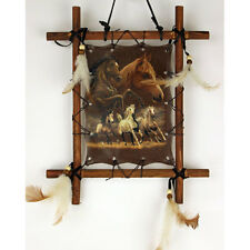 """11""""x 9"""" Horses Equestrian Dream Catcher Wall Hang Decor Feathers Framed Beads"""