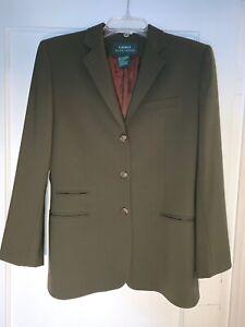 Lauren Ralph Lauren Green Worsted Wool Equestrian Blazer Jacket 6. b223