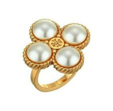 Tory Burch Creamy Pearl Clover Ring Size 7