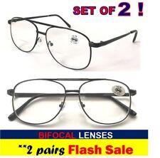 BIFOCAL (2pairs) +1.00 Aviator Pilot Style 1.0 Bifocals Reading Spectacles  +1