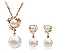 Women's Simulated Pearl Pendant Rose Gold Necklace And Earring Jewellery Set