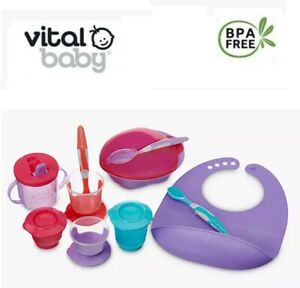 Vital Baby Weaning Kit Child Feeding Complete Starter Kit Pots Bib Spoon Sip Cup