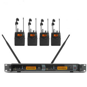 Dual channel Wireless In Ear  Monitor System for Stage Performance 4 bodypack