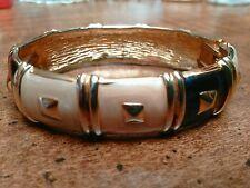 Custume Jewelry Bracelet Gold Blue & Cream Hinged