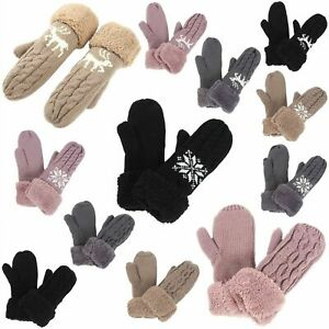 Women Winter Gloves Full Wool Blend Thick Mittens Knitted Warm Fashion Ladies
