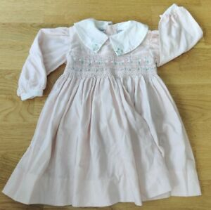12-18 months Chicaloo hand smocked dress embroidered pink floral collar stripe