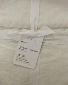 Pottery Barn Belgian Flax Linen Classic Ivory Queen Sheet Set NEW