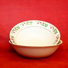 Gibson CHISTMAS DELIGHT 2 Cereal Soup Bowls Holly Berry Gold Trim
